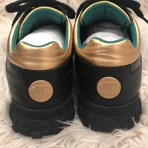 CHANEL Shoes - LIKE NEW~MEN'S CHANEL BLACK/GOLD SNEAKERS~ SIZE:13